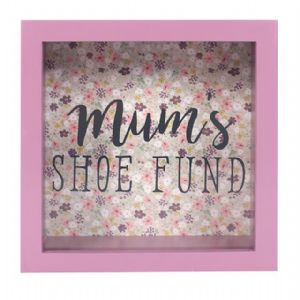 Mum's Shoe Fund 51926 - Savings Shadow Frame Glass Front Money Box